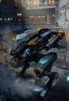 reboot by sheer-madness mech mecha robot hangar spaceport location environment armor clothes clothing fashion player character npc | Create your own roleplaying game material w/ RPG Bard: www.rpgbard.com | Writing inspiration for Dungeons and Dragons DND D&D Pathfinder PFRPG Warhammer 40k Star Wars Shadowrun Call of Cthulhu Lord of the Rings LoTR + d20 fantasy science fiction scifi horror design | Not Trusty Sword art: click artwork for source
