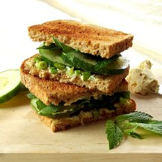 Vegan cucumber sandwiches with creamy cashew cream cheese, fresh mint and scallions.