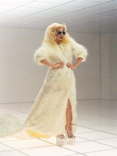 faux polar bear coat bad romance