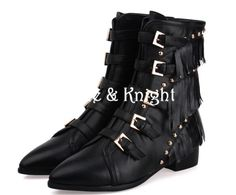 Pointed Toe Buckle Belt Studded Black Ankle Boots with Tassels