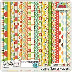 Digital Scrapbook Kit - Sunny Santa: Papers by Bella Gypsy Designs with Kristin Aagard $1 from Nov 27 to Dec 2 at the Scrap Orchard Farmers Market