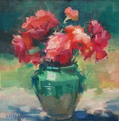 """""""Compliments""""  oil painting 7 x 7""""  Mary Maxam"""