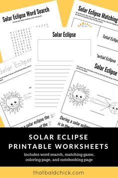 Use these solar eclipse printable worksheets to make the most of the Total Solar Eclipse 2017 with your kids! Use these solar eclipse printable worksheets to make the most of the Total Solar Eclipse 2017 with your kids! Science Classroom, Teaching Science, Science For Kids, Earth Science, Science Fun, Science Ideas, Kindergarten Science, Elementary Science, Classroom Ideas