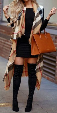 Women's Fall Fashion Outfits With Boots Damen-Herbstmode-Outfits mit Stiefeln outfits Dressy Fall Outfits, Autumn Fashion Women Fall Outfits, Fall Outfits For Work, Fall Winter Outfits, Womens Fashion, Outfits With Boots, Fall Fashion Boots, High Boot Outfits, Plus Size Fall Outfit