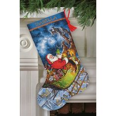 Santa's Flight Counted Cross Stitch Stocking Kit - Every child dreams for Santa's flying in his sleigh on Christmas Eve. Dimensions Gold Collection.