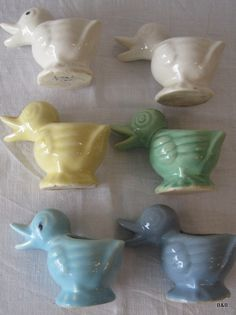 6 Vintage 1950's McCoy Pottery 4 Inch Duck Bird Planters Set.