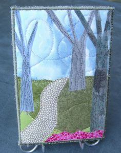 Quilted Fabric Postcard Walking Path Mini Art Quilt by SewUpscale, $12.00