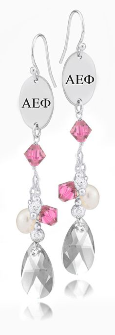 Alpha Epsilon Phi Greek Letters Pink Crystal and Freshwater Pearl Earrings
