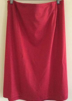 NWOT KIYONNA (3X) Women's Red Curvy Pencil Knit Knee Skirt Plus  | eBay