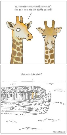 The last giraffe to date on Noah's ark. -- SDA, Seventh Day Adventist, funny meme, Christian humor, bible story comic humor The last giraffe on earth Animal Jokes, Funny Animals, Short Funny Comics, Humor Cristiano, Funny Christian Memes, Bible Humor, Bible Jokes, Church Humor, Bible Stories