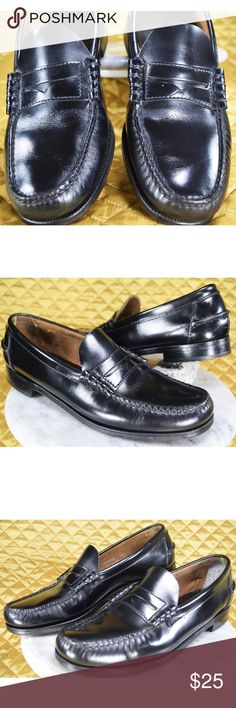 Florsheim Black Leather Penny Loafers Size 8.5B Men's formal black leather penny loafers by Florsheim in excellent condition! The insoles and bottoms show some normal wear. The shell as been cleaned and polished. They look great and have a lot of life left! These are priced at their lowest, price is firm! 🙂   **If you appreciate old school quality - you're in the right place. We don't just sell products, we put time & work into them. We ship FAST, usually within 1 business day! Thanks for…