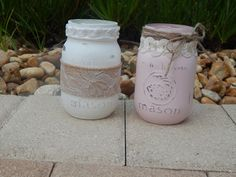 Burlap Lace Mason Jars Set of 2 Hand Painted Distressed  by 3Mimis, $12.00