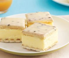 make an easy Vanilla slice with passionfruit icing using this recipe. From the people behind Recipes Plus and Australian Womens Weekly. Sweet Recipes, Cake Recipes, Dessert Recipes, No Bake Slices, Cake Slices, Custard Slice, Vanilla Custard, Vanilla Frosting, Easy Slice