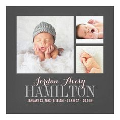 Customizable #Baby #Collage #Custom #Family #Grid #Keepsake #Monogram #Newborn #Nursery #Picture #Square #Template #Trendy Monogram Baby Photo Collage Wrapped Canvas Print available WorldWide on http://bit.ly/2fyoLRV