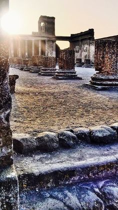 Roman Ruins in Pompeii, Italy @ Sunset