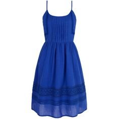 Yumi Cotton Crochet Summer Dress ($46) ❤ liked on Polyvore featuring dresses, clearance, cobalt, tea party dresses, crochet summer dress, blue dress, sleeveless dress and cotton dresses