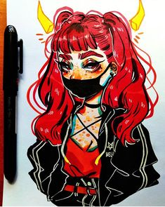 Cute black mouth mask and devil so cute! Amazing Drawings, Cute Drawings, Drawing Sketches, Sketchbook Drawings, Doodle Sketch, Mask Drawing, Dope Art, Character Drawing, Pretty Art