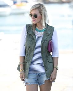 We adore this outfit by MyStyleDiaries! Her necklace looks stunning with her olive vest and striped top! Khaki Vest, Old Navy Vest, Cargo Vest, Utility Vest, Olive Vest, Military Shirt, Steve Madden Flats, Tory Burch Bag, Looking Stunning