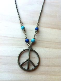 Asymmetrical Peace Sign with Turquoise & Jasper Necklace #hippie #jewelry