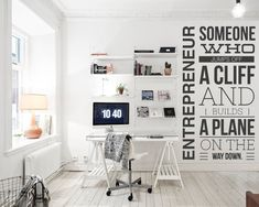 The Entrepreneur Wall Decal is ideal for quickly and easily transform any office workspace. Creative Office Decor, Corporate Office Decor, Creative Walls, Office Wall Decals, Office Walls, Wall Sticker, Office Chairs, Home Office, Office Art