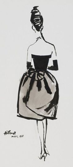 1960 fashion illustration by Alfredo Bouret.