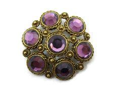 Amethyst Glass Pendant Brooch - Rhinestone Brass Costume Jewelry