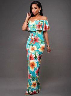 Off Shoulder Long Backless Flower Maxi Dress