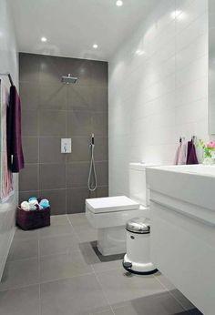 salle de bain double couleur blanc et gris, faire une douche à l italienne