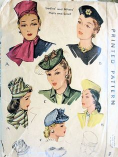 1940s HATS, SCARF PATTERN 3 BEAUTIFUL UNIQUE STYLE HATS McCALL PATTERNS 1193