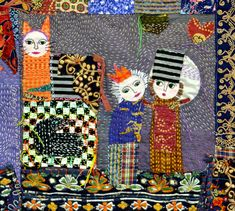 quilt and embroidery fairytale style folk art textile story by Daphne Mihan