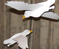 Some paper seagulls crafted for my son's classroom.