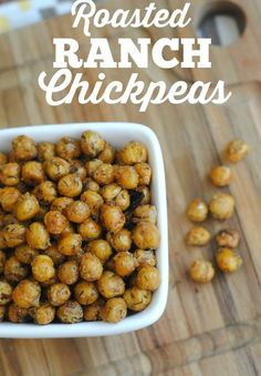 Ranch Chickpeas They won't even know these Roasted Ranch Chickpeas are a healthier snack option full of protein! Perfect for snacks, salads, and even baked potatoes!Healthy Living Healthy Living may refer to: Chickpea Snacks, Chickpea Recipes, Vegan Snacks, Healthy Snacks, Vegetarian Recipes, Healthy Recipes, Snacks Recipes, Chickpea Salad, Healthy Dinners