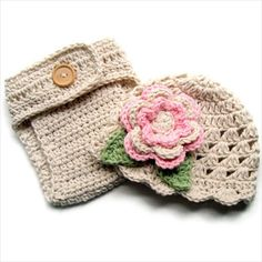 Crochet Baby Hat, Diaper Cover, Baby Girl Hat and Diaper Cover Set