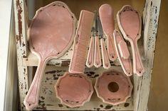 Vintage Pink Celluloid Dresser Set