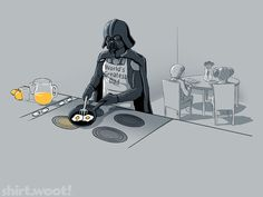 For my non Star Wars friends  Darth is making breakfast for Luke and Leia.