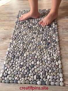 "Mat massage pebble ""Mix"" – shop online on Livemaster with shipping - . - Mat massage pebble ""Mix"" – shop online on Livemaster with shipping – Stone Crafts, Rock Crafts, Diy Home Crafts, Diy Arts And Crafts, Diy Home Decor, Stone Rug, Home Aquarium, Aquarium Garden, Barn Wood Crafts"