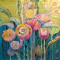 silk painting that would adapt well to an Art quilt. Is this Sidorova? Art Floral, Abstract Flowers, Watercolor Flowers, Watercolor Art, Fabric Painting, Fabric Art, Art Fantaisiste, Batik Art, Silk Art