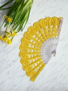 Hand Fan Yellow Hand Held Fan Bridal Bouquet by ModernCrochetClub