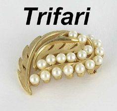 Trifari vintage signed Imitation Pearl Gold brooch pin by vintagejewelrylane, $23.99