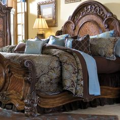 The Portofino luxury bedding set by Michael Amini is one of our best sellers. It features a beautiful array of rich colors and fabrics.