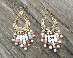 Gypsy JADE and Wood Bead CHANDILER Earrings / Antique Gold Base ...