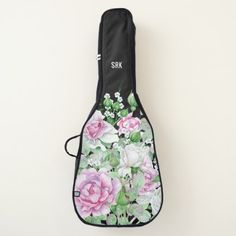 Personalized Monogram Stylish Pink Floral Acoustic Guitar Case - elegant gifts gift ideas custom presents
