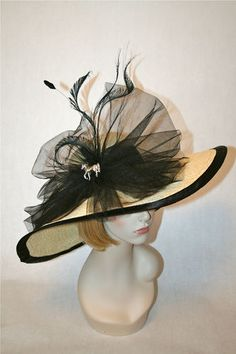 Panama Straw Kentucky Derby Hat with 100% black silk and silver tone horse brooch. www.stores.ebay.com/hatmillinery For a CUSTOM hat call 224-567-8438 $315.97