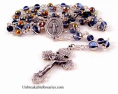 Miraculous Medal Rosary Beads In Sapphire Marea Czech Glass Beads By Unbreakable Rosaries