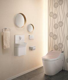 Space Saving Toilet Design for Small Bathroom – Home to Z Space Saving Toilet, Small Toilet Room, Small Room Design, Bathroom Design Small, Accent Wallpaper, Toilet Design, Powder Room, Interior Walls, Rest Room