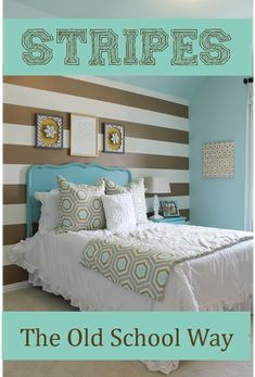 How-To: Stripes The Old School Way. Painting walls, marking, masking, and painting the stripes. What tape to use, and tips and tricks to keeping the paint from bleeding.  Gold and cream/white stripes in girls shabby chic/Glam bedroom On Theraggedwren.blogspot.com