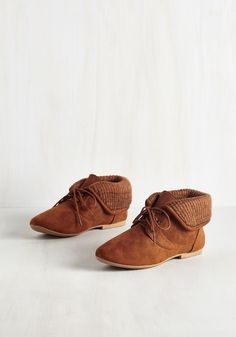 Skit to Be Tied Bootie in Caramel. Following a stellar performance at the improv club, you strut to your curtain call, clad in these vegan faux-suede booties! #brown #modcloth