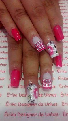 Hibiscus Flowers, Gorgeous Nails, French Nails, Pink Nails, Nailart, Finger, Nail Designs, Polish, Rose
