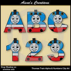 This pack contains a set of Thomas Train clip art alphabet letters uppercase A-Z and a set of numbers 0-9 as shown in the preview. All images are