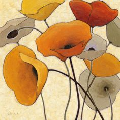 I hadn't thought before about getting a tattoo of California poppies, but I am digging on the idea. //Poppies by Shirley Novak